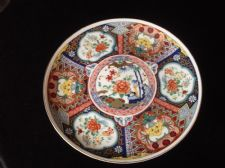 ELEGANT DISPLAY PLATE ORIENTAL COBALT BLUE & RUST BLOSSOMS IMARI WARE JAPAN 8.5""